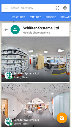 Stage 4 - Search for 'Schluter Systems UK' in the Google Street View App